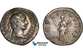 AB990, Roman Empire, Trajan (AD 98-117) AR Denarius (2.91g) Rome, AD 99., Felicitas