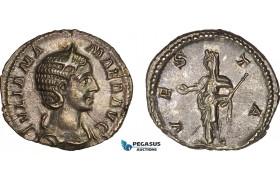 AC012, Roman Empire, Julia Mamaea (AD 222-235) AR Denarius (2.82g) Rome, AD 227, Vesta