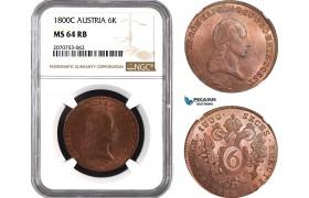 AC032, Austrla, Franz II, 6 Kreuzer 1800-C, Prague, NGC MS64RB, Pop 1/0