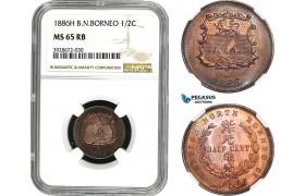 AC033, British North Borneo, 1/2 Cent 1886-H, Heaton, NGC MS65RB (looks SP)