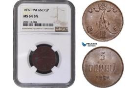 AC044, Finland (under Russia) Alexander III, 5 Penniä 1892, NGC MS64BN, Pop 4/0