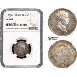 AC050, France, Napoleon, 1 Franc 1809-H, La Rochelle, Silver, NGC MS62, Pop 1/0, Rare!