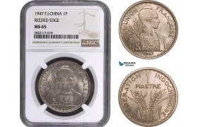 AC053, French Indo-China, 1 Piastre 1947, Paris, NGC MS65 (Reeded Edge)