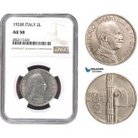 AC060, Italy, Vit. Emanuele III, 2 Lire 1926-R, Rome, NGC AU58, Rare!