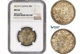 AC061-R, Japan, Taisho, 50 Sen Yr. 6 (1917) Silver, NGC MS64