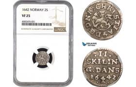 AC065, Norway, Christian IV, 2 Skilling 1642, Silver, NGC VF25