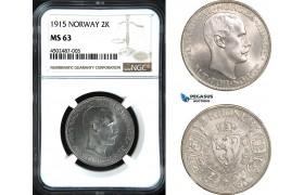 AC068, Norway, Haakon VII, 2 Kroner 1915, Kongsberg, Silver, NGC MS63