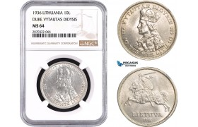 AC070, Lithuania, 10 Litu 1936, Silver, NGC MS64