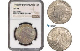 AC078, Poland, 10 Zlotych 1932, London, Silver, NGC AU58