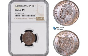 AC079-R, Romania, Carol I, 2 Bani 1900-B, Bucharest, NGC MS66BN