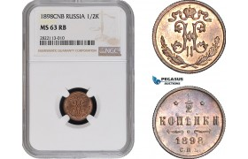 AC080-R, Russia, Nicholas II, 1/2 Kopek 1898 СПБ, St. Petersburg, NGC MS63RB