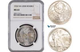 AC083-R, Russia (Soviet Union) Rouble 1924, Leningrad, Silver, NGC MS63