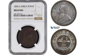 AC085, South Africa (ZAR) 1 Penny 1892, NGC MS63BN