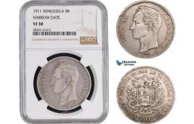 """AC093-R, Venezuela, 5 Bolivares 1911 """"Narrow Date"""" Paris, Silver, NGC VF30"""