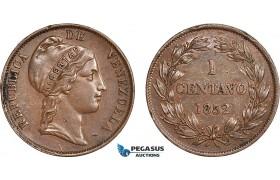 AC131, Venezuela, 1 Centavo 1852, Edge damages, Otherwise AU