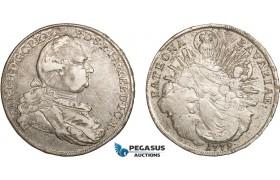 AC137, Germany, Bavaria, Karl Theodor, Taler 1779, Munich, Silver (27.91g) Lustrous VF+