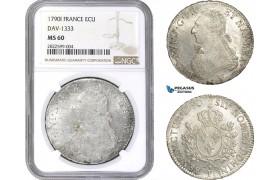 AC144, France, Louis XVI, Ecu 1790-I, Limoges, Silver, NGC MS60