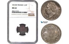 AC145, France, Louis XVIII, 1/2 Franc 1816-W, Lille, Silver, NGC MS62, Pop 2/0, Rare!