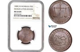 "AC147, Mombasa, Pice 1888 C/M ""Medium Letters Reverse"" NGC MS64"