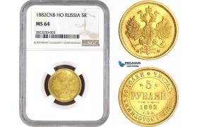 AC149, Russia, Alexander III, 5 Roubles 1882 СПБ-НФ, St. Petersburg, Gold, NGC MS64, Pop 4/1
