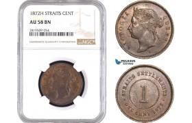 AC152, Straits Settlements, Victoria, 1 Cent 1872-H, Heaton, NGC AU58BN