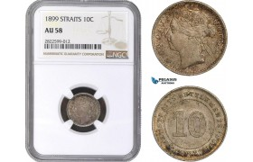 AC154, Straits Settlements, Victoria, 10 Cents 1899, Silver, NGC AU58