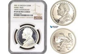 AC155, Sweden, Nobel Prize Centennial 200 Kronor 2001, Stockholm, Silver, NGC PF69UC, Pop 1/0