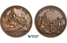 AC168, Germany & France, Bronze Medal 1814 (Ø42mm, 36g) by Loos, Peace of Paris, Rare!