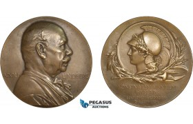 AC176, Sweden, Bronze Medal 1904 (Ø50mm, 56g) Adolf Lindberg, Minerva, Rare!
