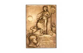 AC177, Sweden, Bronze Plaque Medal 1905 (76x53mm, 101g) by Lindberg, Salomon August Andree Expedition, Air Balloon, Rare!