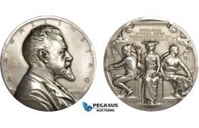 AC179, Sweden, Silver Art Nouveau Medal 1911 (Ø63.5, 129g) by Lindberg, Enskilda Bank, Wallenberg