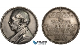 AC180, Sweden, Silver Medal 1920 (Ø63mm, 103.5g) by Lindberg, Enskilda Bank, Marcus Wallenberg