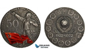 AC201, Soviet Russia, Silver Medal 1972 (Ø75mm, 220g) 50th Anniversary of USSR, Lenin, Only 300pcs issued!