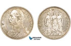 AC209, Danish West Indies, Christian IX, 1 Franc - 20 Cents 1905, Copenhagen, Silver, Cleaned AU