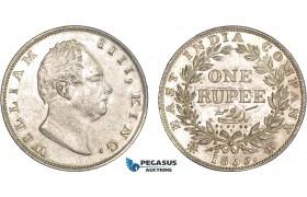 AC211, India (British) William IV, Rupee 1835 (F Incuse) Silver, AU-UNC (Cleaned)