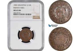 AC217, Argentina, Buenos Aires, 5/10 Real 1840, NGC MS63BN, Pop 2/0