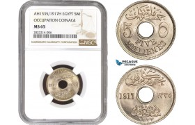 AC226, Egypt, Occupation Coinage, 5 Milliemes AH1335/1917-H, Heaton, NGC MS65