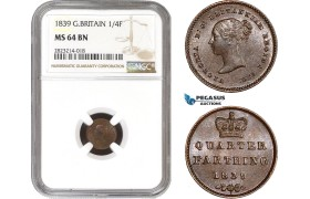 AC238, Great Britain, Victoria, 1/4 Farthing 1839, London, NGC MS64BN