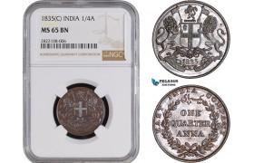 AC242, India (EIC) 1/4 Anna 1835 (C) Calcutta, NGC MS65BN