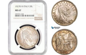 AC248, Italy, Vittorio Manuele III, 20 Lire 1927-R, A. VI, Rome, Silver, NGC MS67, Pop 4/0