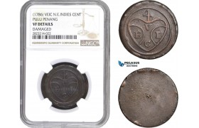 AC249, N. E. Indies (VEIC) Pulu Penang (Malaysia) Cent ND (1786) NGC VF Details