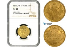 AC257, Russia, Alexander II, 5 Roubles 1856 СПБ-АГ, St. Petersburg, Gold, NGC MS65, Pop 4/0