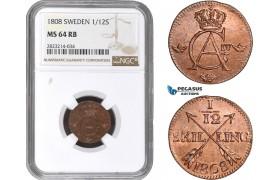 AC263, Sweden, Gustav IV Adolf, 1/12 Skilling 1808, NGC MS64RB