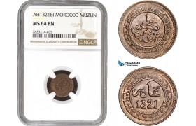 AC265, Morocco, Abd al-Aziz, 1 Muzun AH1321-BI, Birmingham, NGC MS64BN, Pop 1/0