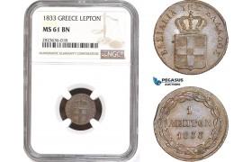 AC300, Greece, Othon, 1 Lepton 1833, Munich, NGC MS61BN