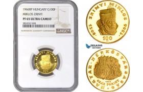 "AC301, Hungary, ""Zrinyi"" 100 Forint 1966-BP, Budapest, Gold, NGC PF65UC"