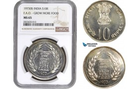 AC305-R, India, 10 Rupees 1973 (B) Bombay, Silver, NGC MS65 (F.A.O. - Grow more food)