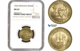 AC310-R, Monaco, Louis II, 1 Franc 1926, Poissy, NGC MS65