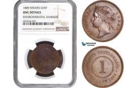 AC321, Straits Settlements, Victoria, 1 Cent 1889, NGC UNC Det.