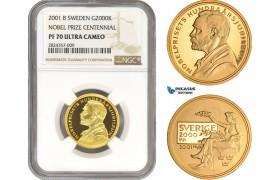 AC324, Sweden, Nobel Prize Centennial 2000 Kronor 2001, Stockholm, Gold, NGC PF70UC, Pop 2/0